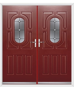 Arcacia French Rockdoor in Ruby Red with Crystal Bevel