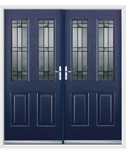 Jacobean French Rockdoor in Sapphire Blue with Apollo