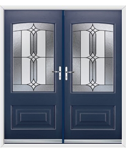 Portland French Rockdoor in Sapphire Blue with Apostle Glazing