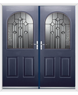 Kentucky French Rockdoor in Sapphire Blue with Aquarius Glazing