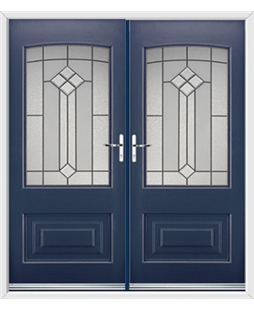 Portland French Rockdoor in Sapphire Blue with Beacon
