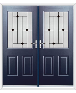 Windsor French Rockdoor in Sapphire Blue with Black Diamonds