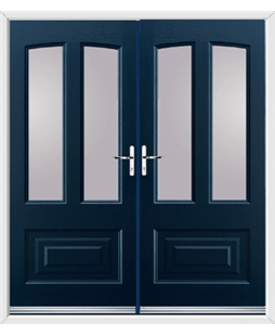 Illinois French Rockdoor in Sapphire Blue with Glazing
