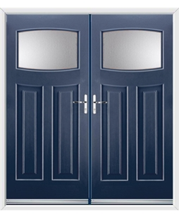 Newark French Rockdoor in Sapphire Blue with Glazing