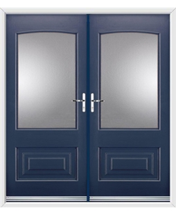 Portland French Rockdoor in Sapphire Blue with Glazing