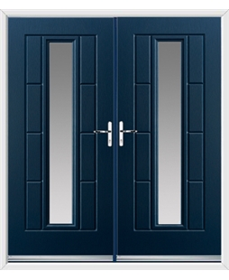 Vermont French Rockdoor in Sapphire Blue with Glazing