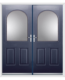 Kentucky French Rockdoor in Sapphire Blue with Glazing
