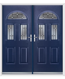Tennessee French Rockdoor in Sapphire Blue with Crystal Bevel