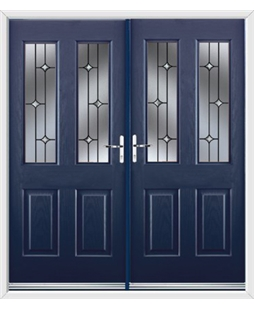 Jacobean French Rockdoor in Sapphire Blue with Crystal Bevel