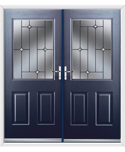 Windsor French Rockdoor in Sapphire Blue with Crystal Bevel