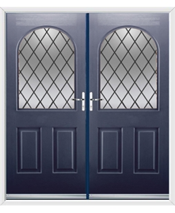 Kentucky French Rockdoor in Sapphire Blue with Diamond Lead
