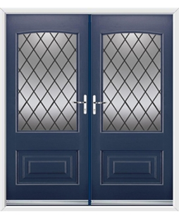 Portland French Rockdoor in Sapphire Blue with Diamond Lead