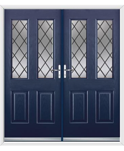 Jacobean French Rockdoor in Sapphire Blue with Diamond Lead
