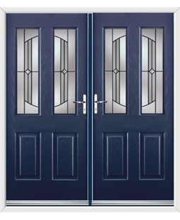 Jacobean French Rockdoor in Sapphire Blue with Ellipse