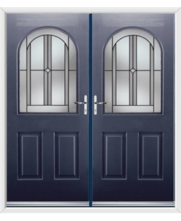 Kentucky French Rockdoor in Sapphire Blue with Ellipse