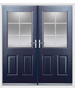 Windsor French Rockdoor in Sapphire Blue with White Georgian Bar