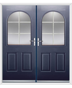Kentucky French Rockdoor in Sapphire Blue with White Georgian Bar