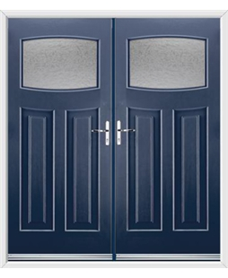 Newark French Rockdoor in Sapphire Blue with Gluechip Glazing