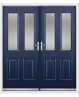 Jacobean French Rockdoor in Sapphire Blue with Gluechip Glazing