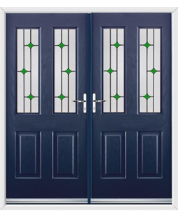 Jacobean French Rockdoor in Sapphire Blue with Green Diamonds