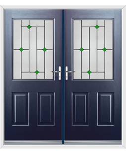 Windsor French Rockdoor in Sapphire Blue with Green Diamonds