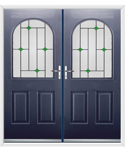 Kentucky French Rockdoor in Sapphire Blue with Green Diamonds