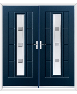 Vermont French Rockdoor in Sapphire Blue with Grey Shades