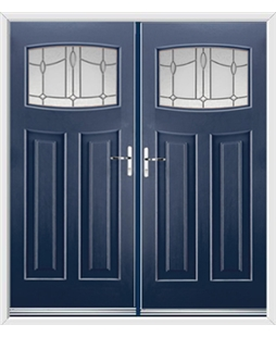 Newark French Rockdoor in Sapphire Blue with Lantern Glazing