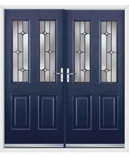 Jacobean French Rockdoor in Sapphire Blue with Linear
