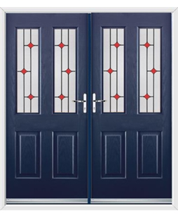 Jacobean French Rockdoor in Sapphire Blue with Red Diamonds