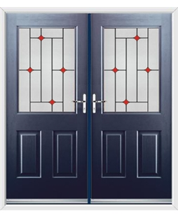 Windsor French Rockdoor in Sapphire Blue with Red Diamonds