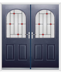Kentucky French Rockdoor in Sapphire Blue with Red Diamonds