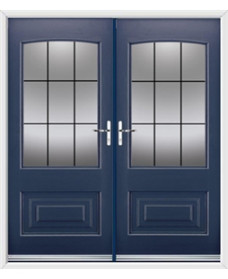 Portland French Rockdoor in Sapphire Blue with Square Lead