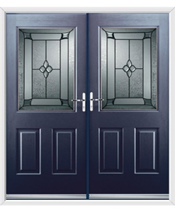 Windsor French Rockdoor in Sapphire Blue with Titania Glazing