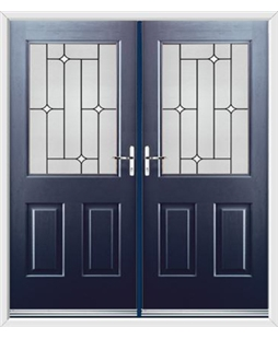 Windsor French Rockdoor in Sapphire Blue with White Diamonds
