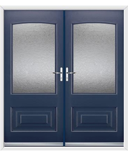 Portland French Rockdoor in Sapphire Blue with Gluechip Glazing