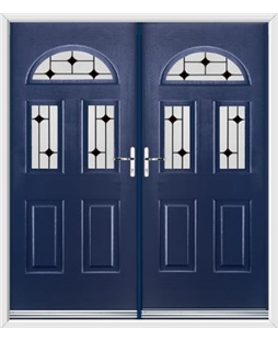 Tennessee French Rockdoor in Sapphire Blue with Black Diamonds