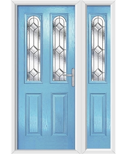 The Aberdeen Composite Door in Blue (Duck Egg) with Simplicity and matching Side Panel