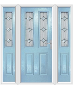 The Cardiff Composite Door in Blue (Duck Egg) with Simplicity and matching Side Panels
