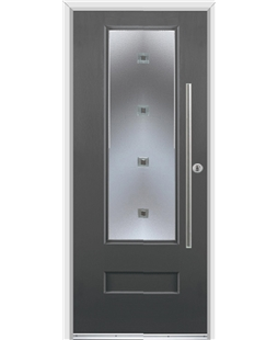 Ultimate Vogue Rockdoor in Slate Grey with Abyss Glazing and Bar Handle