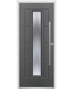 Ultimate Vermont Rockdoor in Slate Grey with Gluechip Glazing and Bar Handle