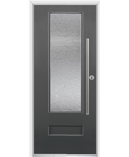 Ultimate Vogue Rockdoor in Slate Grey with Gluechip Glazing and Bar Handle