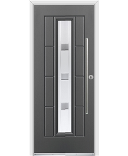 Ultimate Vermont Rockdoor in Slate Grey with Grey Shades and Bar Handle