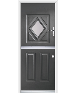 Ultimate Stable Diamond Rockdoor in Slate Grey with Glazing