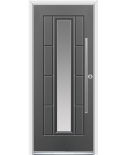 Ultimate Vermont Rockdoor in Slate Grey with Glazing and Bar Handle