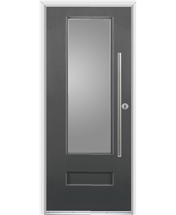 Ultimate Vogue Rockdoor in Slate Grey with Glazing and Bar Handle