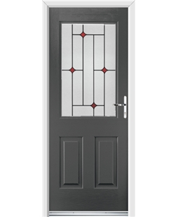 Ultimate Windsor Rockdoor in Slate Grey with Red Diamonds