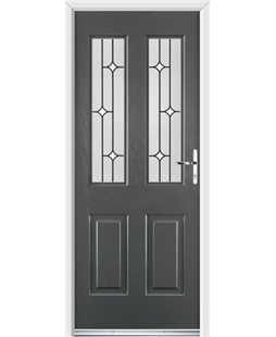 Ultimate Jacobean Rockdoor in Slate Grey with White Diamonds