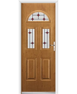 Ultimate Tennessee Rockdoor in Irish Oak with Red Diamonds