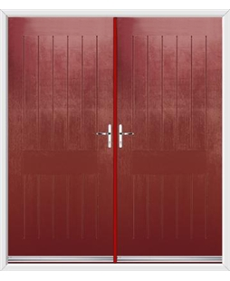 Tongue & Groove French Rockdoor in Ruby Red